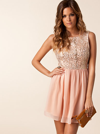 Melanie Open Back Dress - Elise Ryan - Peach - Party Dresses - Clothing - Women - Nelly.com