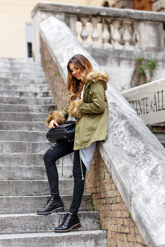 jacket tumblr parka hooded jacket army green jacket jeans black jeans skinny jeans black skinny jeans black ripped jeans ripped jeans bag black bag boots black boots winter boots