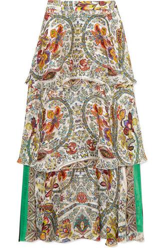 skirt maxi skirt maxi jacquard white silk