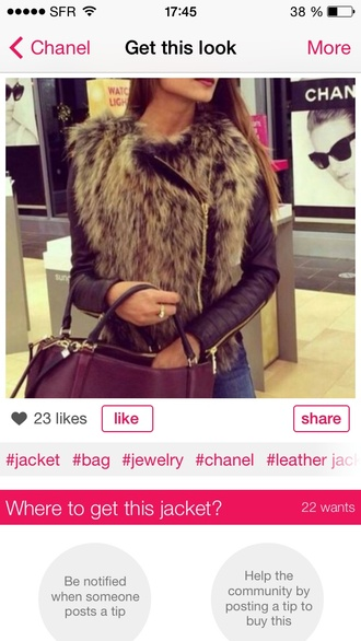coat chanel chanel style jacket hairs classy original luxe jacket bag fur leather sleeves zip