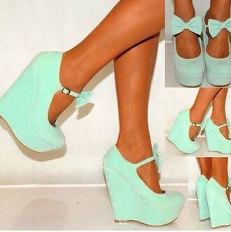 bow high heels wedges mint shoes bow