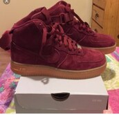 shoes,nike air force 1,nike,high top sneakers,burgundy