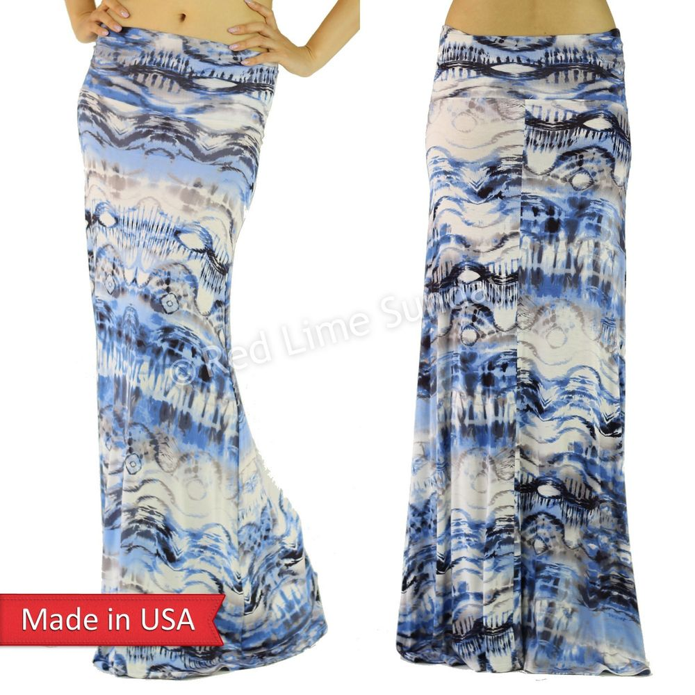 New Women Tie Dye Ombre Color Blue Art Print Fold Over Rayon Long Maxi Skirt USA