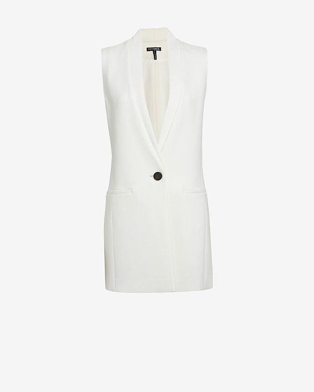 Exclusive for intermix tailored long vest: white at intermix