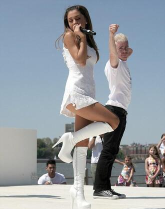 dress ariana grande white dress mini dress strappy slit dress