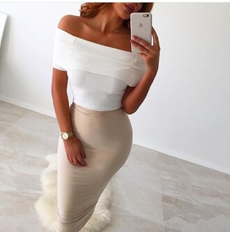 top white top summer top cute top off the shoulder off the shoulder top skirt pencil skirt high waisted skirt cute skirt outfit outfit idea summer outfits cute outfits spring outfits date outfit party outfits clothes trendy clubwear stylish style fashion casual bodycon sexy sexy outfit