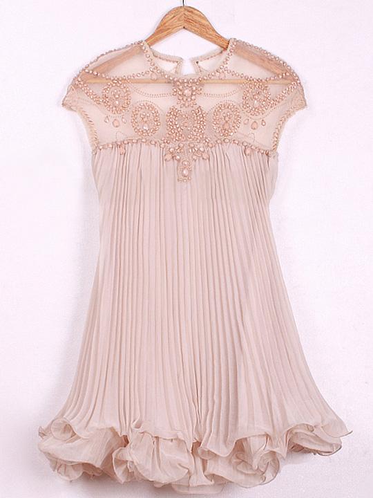 Pink round neck cap sleeve beaded top organza chiffon ruffled hem pleated dress