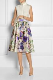 skirt,lela rose,midi skirt,floral-print satin skirt