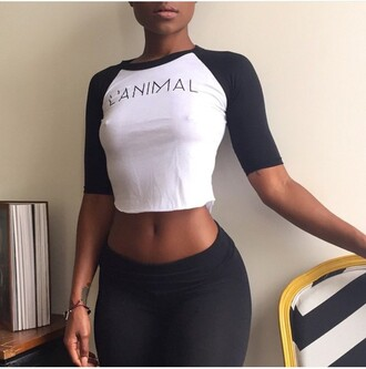 shirt black and white animal baseball tee long sleve crop tops graphic tee sporty chic