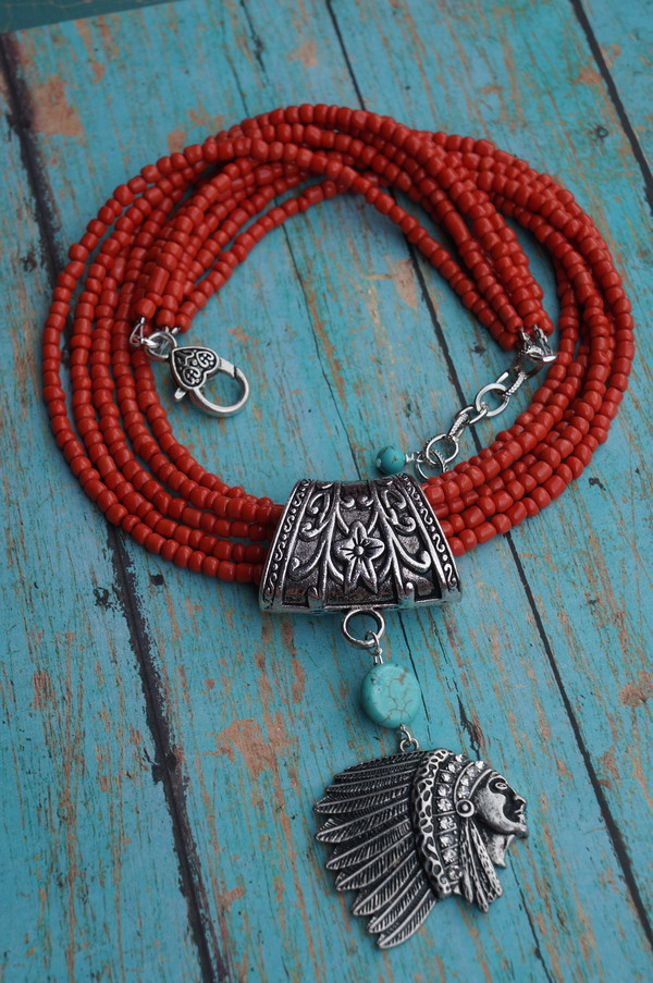 jewels southwestern native american orange coral and turquoise necklace