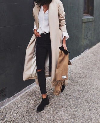 coat tumblr nude coat long coat jeans black jeans boots black boots ankle boots flat boots ripped jeans shirt white shirt scarf black ripped jeans outfit idea classy office outfits fall outfits