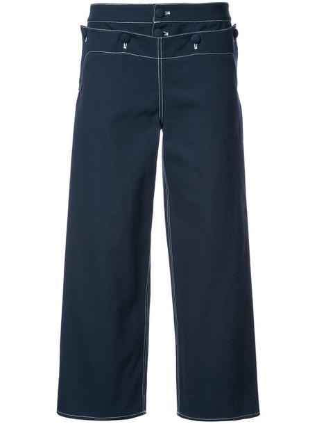Harvey Faircloth sailor cropped women cotton blue pants