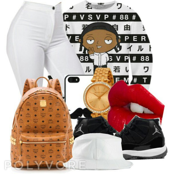 sweater family guy white jeans mcm bag jordan 11s concords hair accessory hat shoes make-up jeans