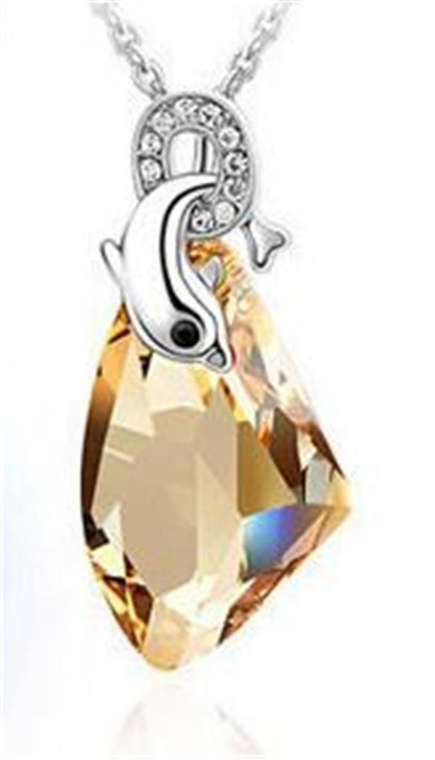 Amazon.com: loy jewelry dolphin swarovski elements crystal pendant necklace for women w 18k white gold plated chain, golden: jewelry