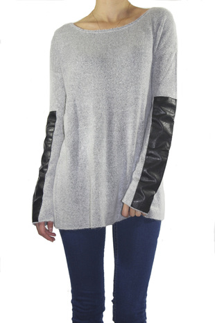 Faux Leather Sleeve Sweater - ShopFrankies.com