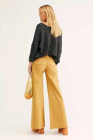 Neon Blonde Siren Sweep Wide-Leg Jeans