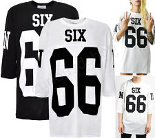New Oversized Six 66 Graphic Print Jersey Tee T-shirt Cropped Sleeve Black White | eBay
