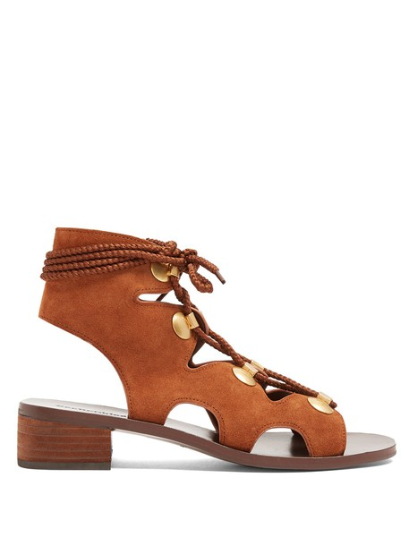 See by Chloe heel sandals lace suede tan shoes