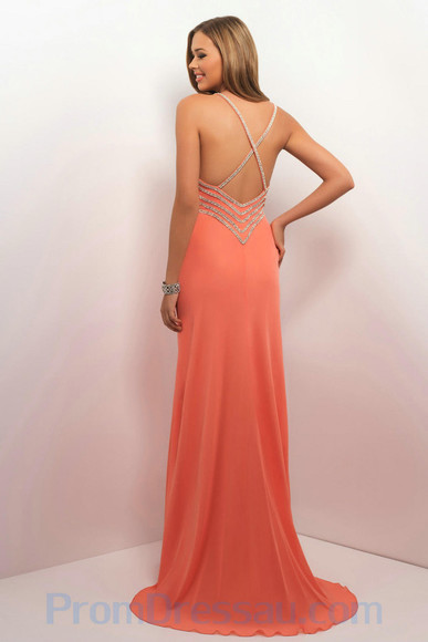 dress coral graduation low back maxi dress formal prom dress