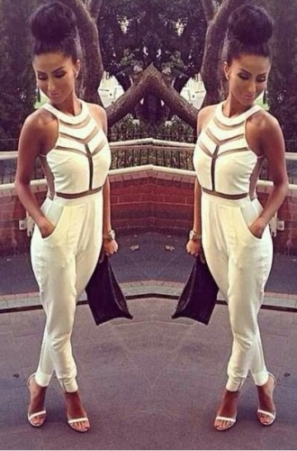 Fashion One-Piece Mesh splicing sexy white Jumpsuit Dress