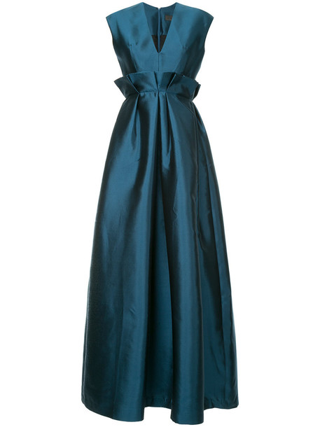 dress women v neck blue silk wool