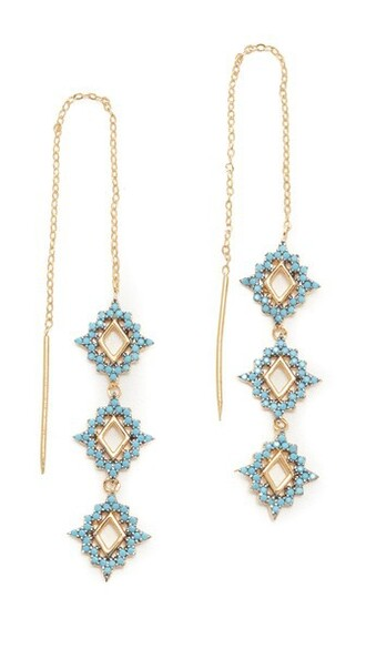 sea earrings gold turquoise jewels