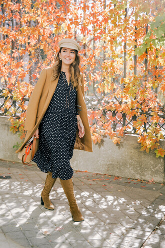 dress tumblr midi dress fall outfits fall dress boots brown boots coat camel camel coat fisherman cap