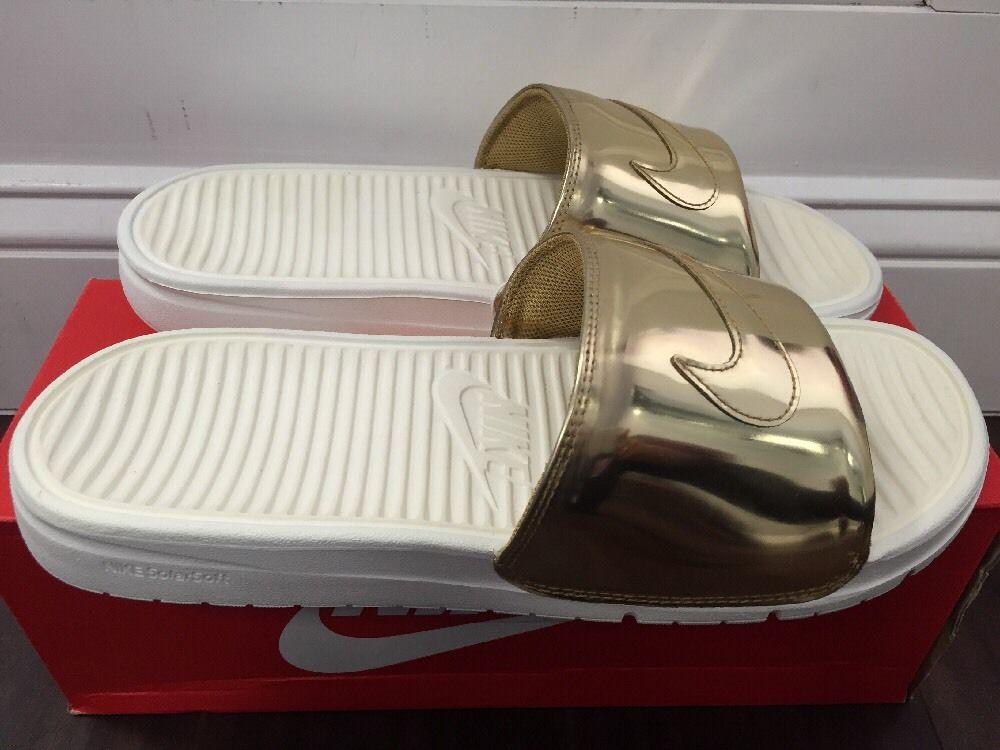 f1c4bbebb Nike Benassi Solarsoft Slide SP Liquid Metal Size 9 Metallic Gold ...