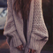 Women's batwing sleeve long knitted oversized cardigan