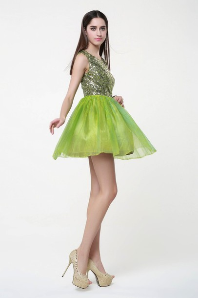 dress green sequins chiffon skirt