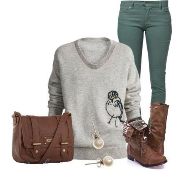 sweater grey jeans bag shoes bird