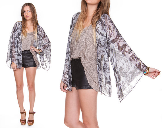 Frolic Kimono Cardigan  Black & White Feather by FrolicApparel