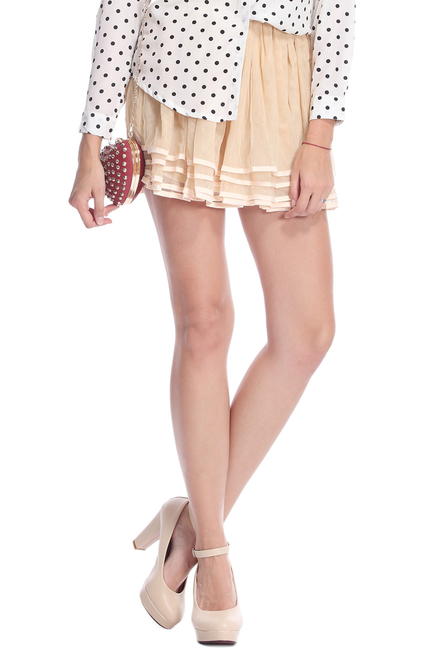ROMWE   Layered Elastic Pleated Cream Bubble Skirt, The Latest Street Fashion