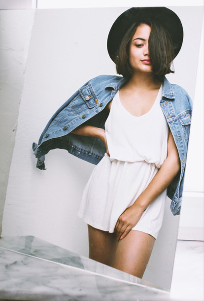 dress romper hat denim denim jacket white dress black white felt hat jumpsuit