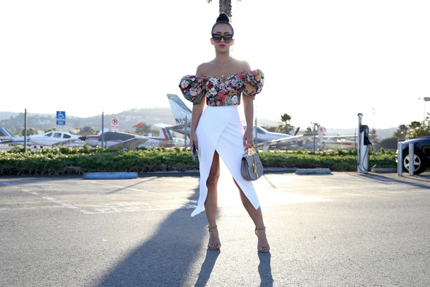 ktr style blogger top skirt sweater shoes bag jewels off the shoulder top white skirt sandals crop tops floral top
