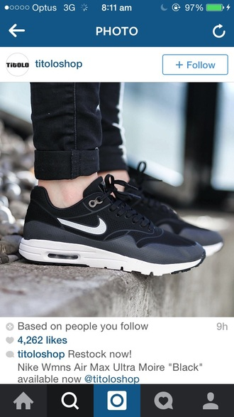 shoes nike air max ultra moire black grey