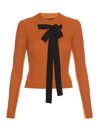 sweater bow knit orange