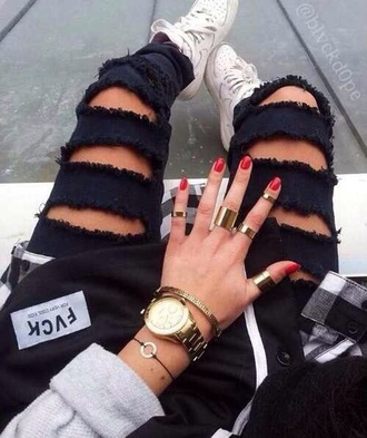jeans black holes ripped torn skinny jeans pants skinny pants ripped jeans jewels trends trendy 2014 prom dresses