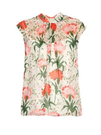 top print silk white red