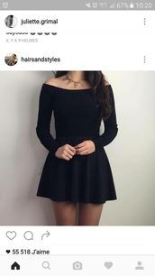 dress,robe,noire,patineuse,manches longues,?paules d?nud?es,black dress,petite robe noire