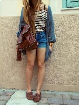 bag striped shirt shorts t-shirt sweater