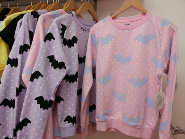 sweater batman halloween kawaii bats pink japanese shirt fairy kei pastel goth pastel pale lolita harajuku creepy sweatshirt lilac cute girly polka dots soft grunge