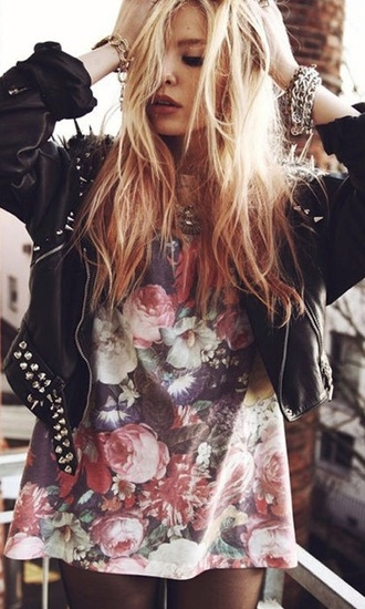 jacket shirt t-shirt floral tank top flowers roses grunge t-shirt grunge soft grunge black leather jacket spiked leather jacket black jacket rock print punk blouse punk rock