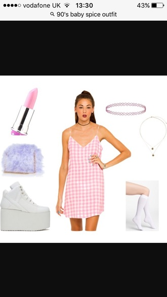 dress gingham pink slip dress mini dress