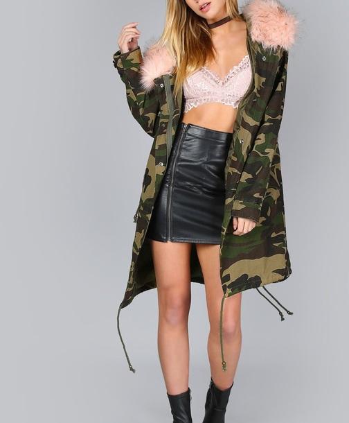 coat girly camouflage camo jacket long long coat parka pink fur fur coat fur jacket