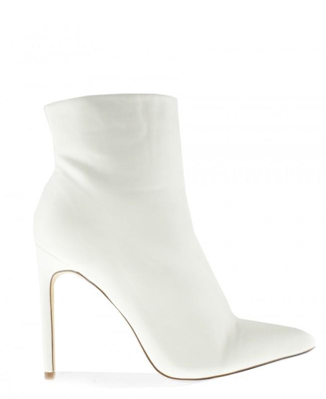 Tasha White Pointed Toe Heeled Ankle Boots