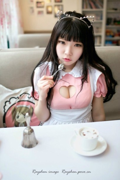 Blouse Maid Cosplay Costumes Asian Heart Shaped
