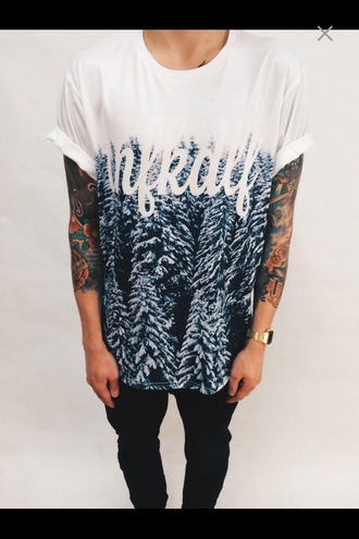 shirt hype t-shirt cow boy jeans tattoo sleeeless ombre oversized shirt ice snow