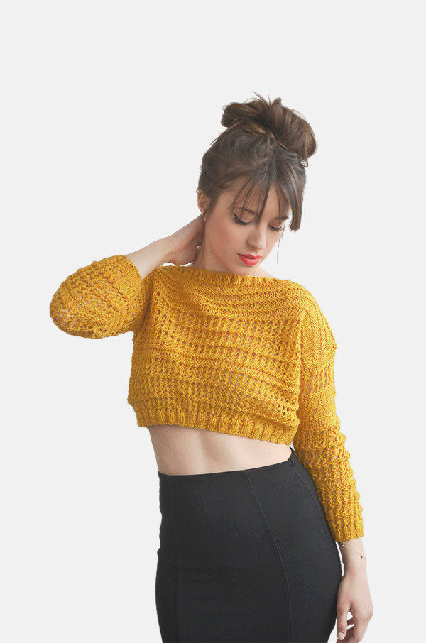 Top Sweater in Mustard Yellow, Hand Knit Cotton Short Top, Womens ...