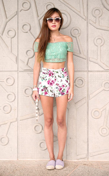 Shorts - White High Waisted Floral Shorts | UsTrendy